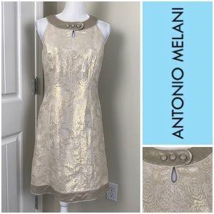 Antonio Melani Golden patterned Silk Dress Sz 8